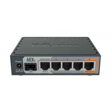 hEX S routerboard RB760iGS 5 porte Gigabit, SFP PoE out, USB Mikrotik